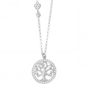 Necklace in silver 925 rhodium plated with white zirconia - Zoe