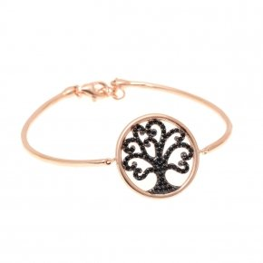 Bracelet silver 925, pink gold plated and black spinels - Zoe