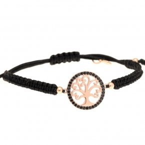Bracelet with cord silver 925, pink gold plated and black spinels - Zoe
