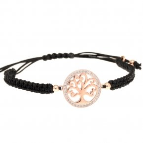 Bracelet silver 925 pink gold plated & with white zirconia with cord - Zoe