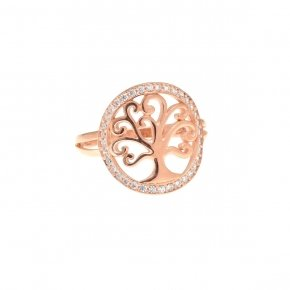 Ring Silver 925, pink gold plated with white zirconia - Zoe