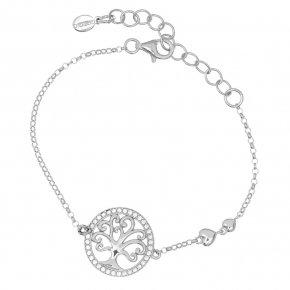 Bracelet chain silver 925, rhodium plated and white zirconia - Zoe