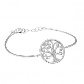 Bracelet silver 925, rhodium plated and white zirconia - Zoe