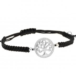 Bracelet with cord silver 925, rhodium plated and white zirconia - Zoe