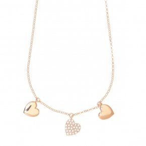 Necklace with chain silver 925, pink gold plated, and white zirconia - Kardia