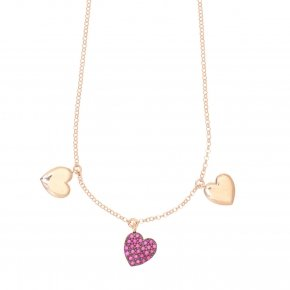 Necklace with chain silver 925, pink gold plated, and red zirconia - Kardia
