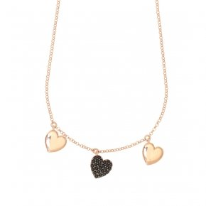 Necklace with chain silver 925, pink gold plated, and black spinels - Kardia