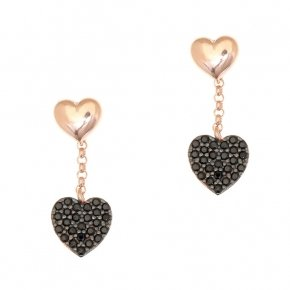 Earrings silver 925, pink gold plated and black spinels - Kardia