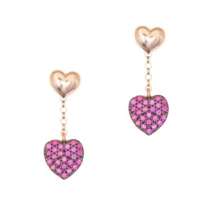 Earrings silver 925, pink gold plated and red zirconia - Kardia