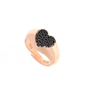Ring silver 925 pink gold plated, and black spinels - Kardia