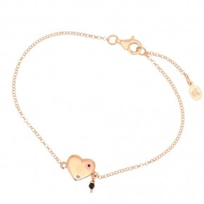 Bracelet silver 925 lenght 16,5 cm (with extra 2cm exte), pink gold plated and enamelled evil eye - Charisma