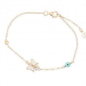Cord Bracelet in silver 925 pink gold plated with white zirconia - Aggelos