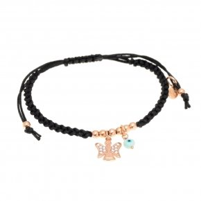 Bracelet silver 925 with black cord macrame pink gold plated and white zirconia - Aggelos