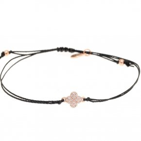 Bracelet with cord silver 925, pink gold plated, and white zirconia - Sirens