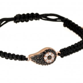 Bracelet with cord silver 925, pink gold plated, and black spinels - Irida