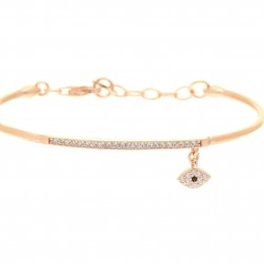 Bracelet silver 925 pink gold plated and white zirconia - Dione