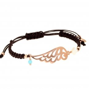 Bracelet silver 925 with black cord macrame pink gold plated - Aggelos