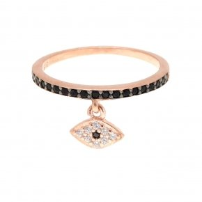 Ring silver 925 pink gold plated with black spinels - Dione