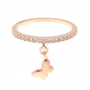 Ring silver 925 pink gold plated with white zirconia - Dione
