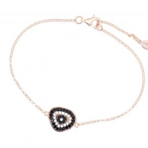 Bracelet with chain silver 925, pink gold plated, black spinels and white zirconia - Irida