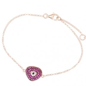 Bracelet with chain silver 925, pink gold plated and red zirconia - Irida