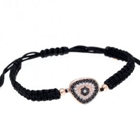 Bracelet with cord silver 925, pink gold plated, black spinels and white zirconia - Irida