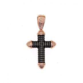 Cross silver 925 pink gold plated and black rhodium - Apopsis