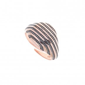 Ring silver 925 pink gold plated and black rhodium - Apopsis