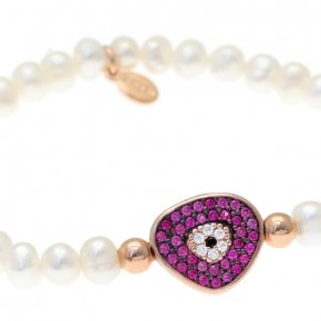 Braclet with stones silver 925, pink gold plated, red zirconia and fresh water pearls - Irida
