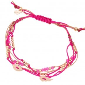 Bracelet silver 925 pink gold plated two color cord and fucia stones - Aegis
