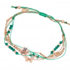 Bracelet silver 925 pink gold plated two color cord and green stones - Aegis