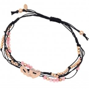 Bracelet silver 925 pink gold plated two color cord and pink stones - Aegis