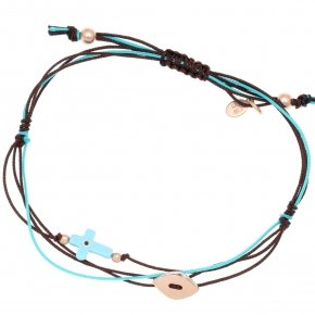 Bracelet silver 925 pink gold plated two color cord with turquoise eye cross shaped - Aegis