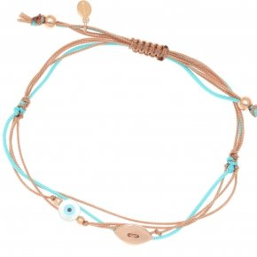 Bracelet silver 925 pink gold plated two color cord and eye - Aegis