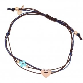 Bracelet silver 925 pink gold plated two color cord pink evil eye - Aegis