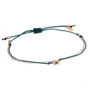 Bracelet silver 925 pink gold plated, with cord and chain - Aegis