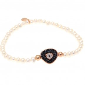 Braclet with stones silver 925, pink gold plated, black spinels and fresh water pearls - Irida