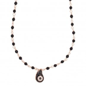 Necklace with chain silver 925, pink gold plated, black spinels and onyx - Irida