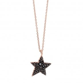 Necklace silver 925 lenght 40 cm (with extra 5cm exte), pink gold plated and black spinels - Astro
