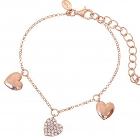 Bracelet with chain silver 925, pink gold plated, and white zirconia - Kardia