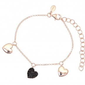 Bracelet with chain silver 925, pink gold plated, and black spinels - Kardia