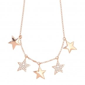 Necklace silver 925 lenght 40 cm (with extra 5cm exte), pink gold plated and white zirconia - Astro