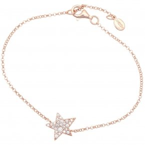 Bracelet silver 925 lenght 16,5 cm (with extra 2cm exte), pink gold plated and white zirconia - Astro