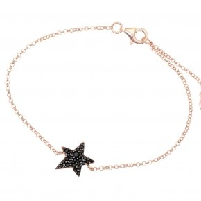 Bracelet silver 925 lenght 16,5 cm (with extra 2cm exte), pink gold plated and black spinels - Astro