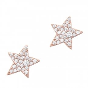 Earring silver 925 pink gold plated and white zirconia - Astro