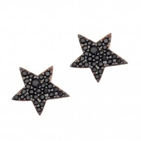 Earring silver 925 pink gold plated and black spinels - Astro