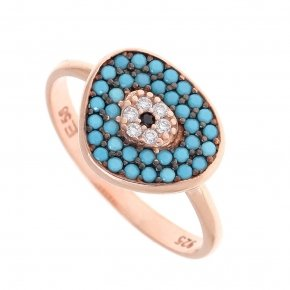 Ring silver 925 pink gold plated, and turquoise zirconia - Irida