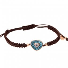 Bracelet with cord silver 925, pink gold plated, and turquoise zirconia - Irida