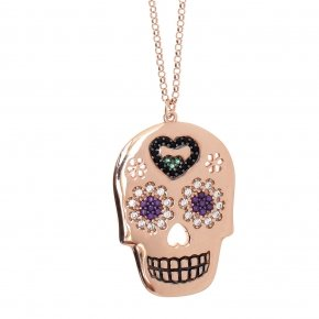 Necklace silver 925 long lenght 80 cm pink gold plated and colored zirconia - Enigma