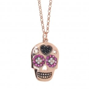 Necklace silver 925 lenght 50 cm (with extra 5cm exte) pink gold plated and colored zirconia - Enigma